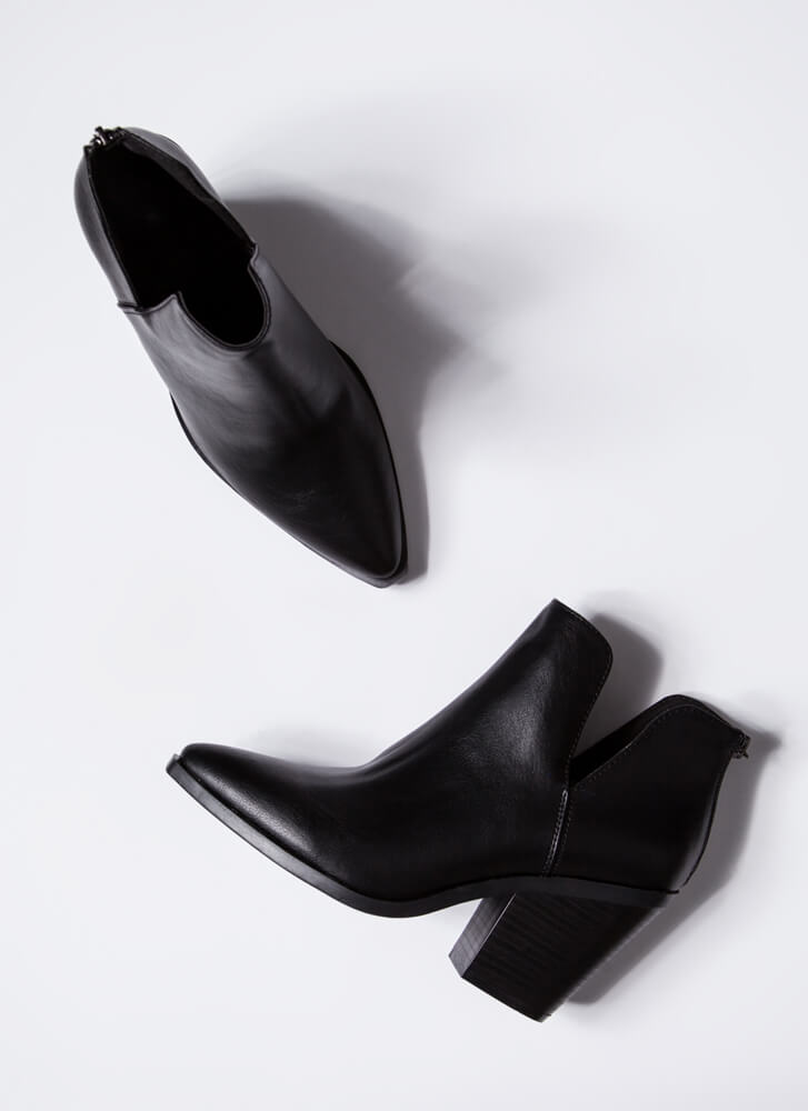 Top Notch Chunky Faux Leather Booties BLACK