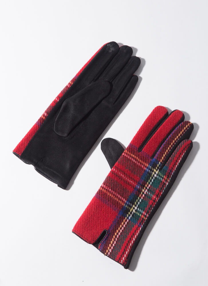 Lady In Plaid Tartan Gloves RED