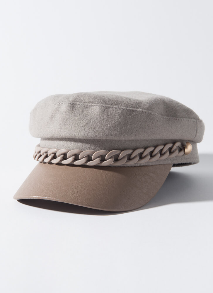 Missed Connection Chain Strap Cabbie Hat GREY