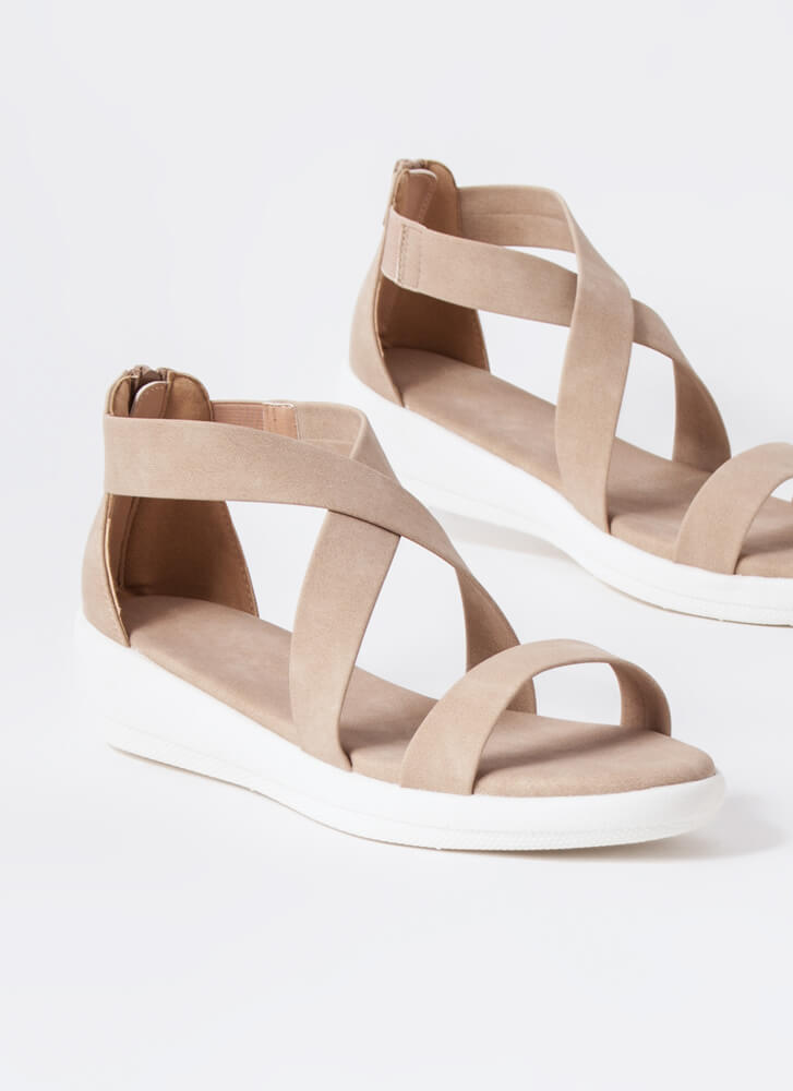 Real Style Strappy Platform Sandals TAUPE