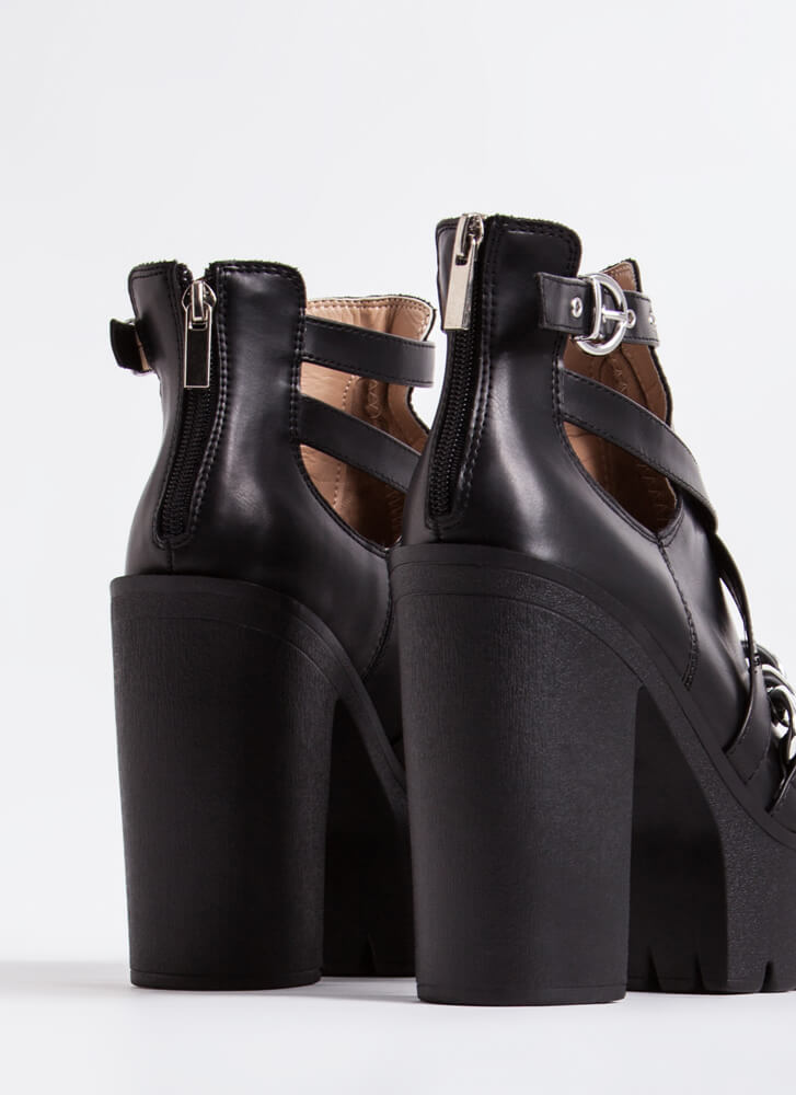 Stunner Strappy Chained Platform Booties BLACK