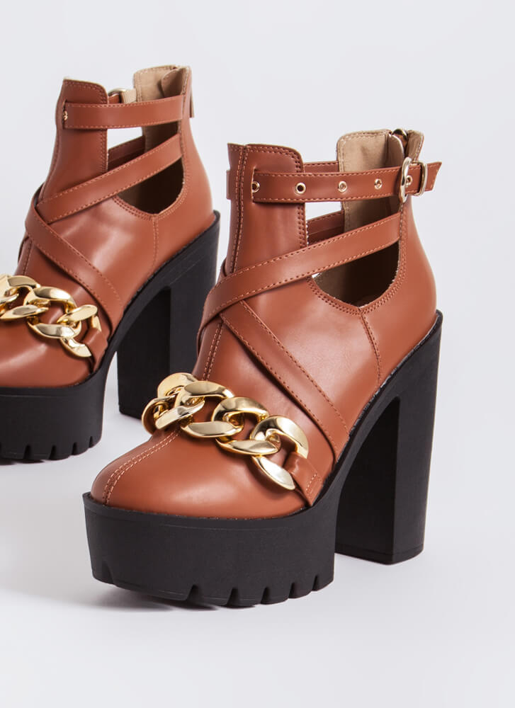 Stunner Strappy Chained Platform Booties MOCHA