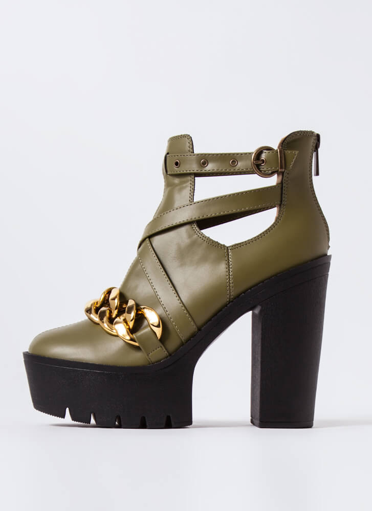 Stunner Strappy Chained Platform Booties OLIVE