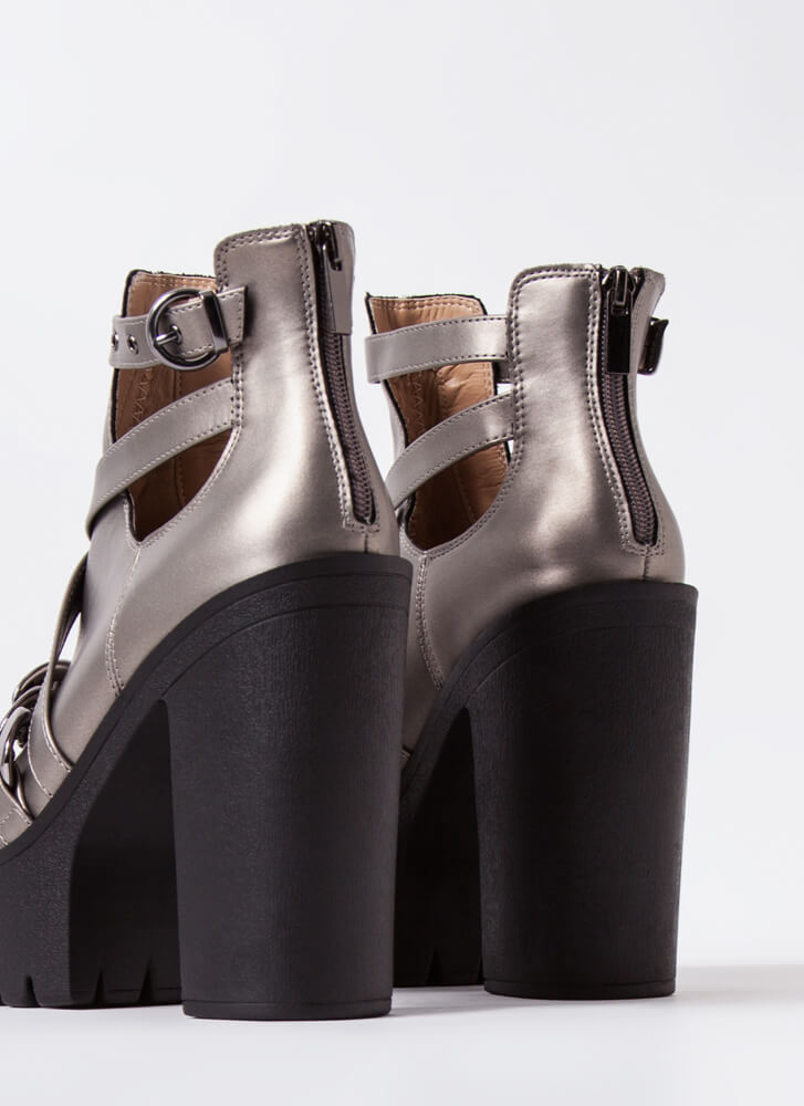 Stunner Strappy Chained Platform Booties PEWTER
