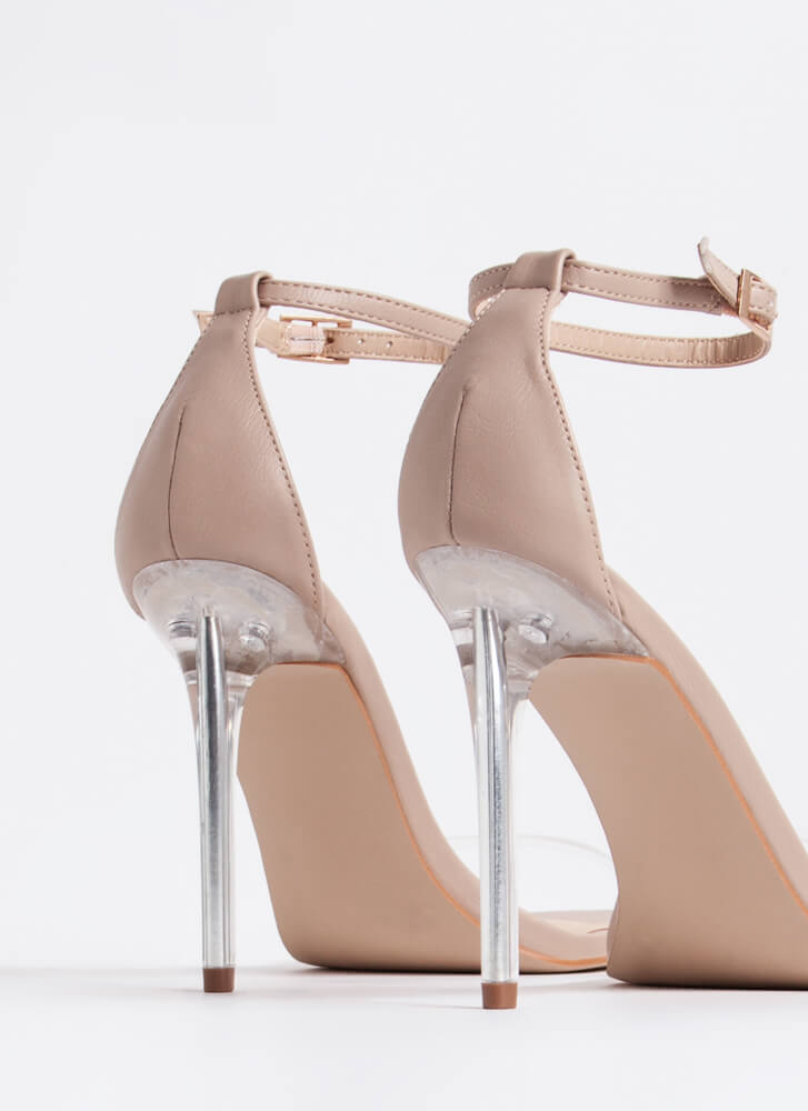 Stand Clear Vegan Leather Lucite Heels NUDE