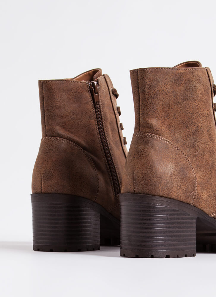Lace Up Faux Leather Block Heel Booties TAN