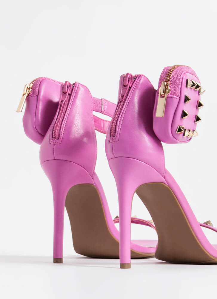 Hey Stud Faux Leather Pouch Accent Heels HOTPINK