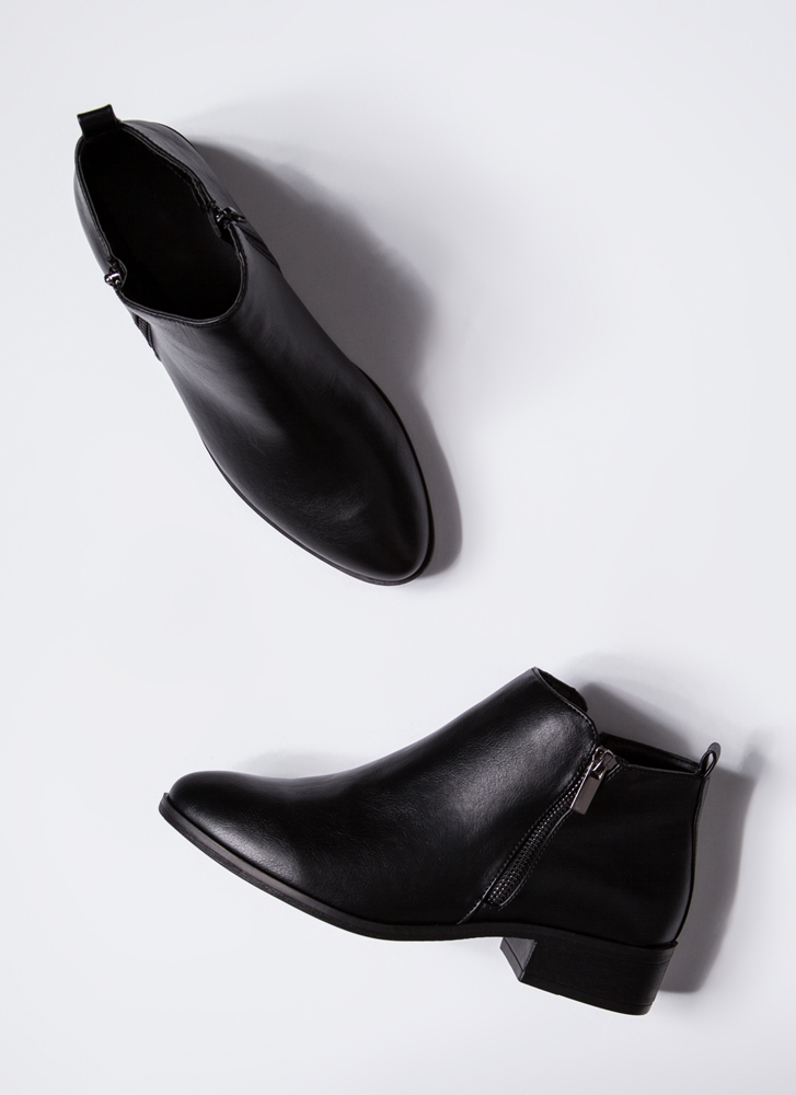 Short Squeeze Faux Leather Booties BLACK