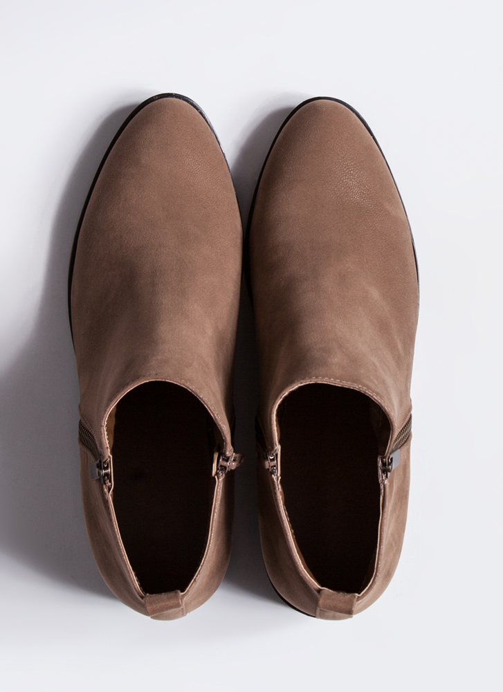 Short Squeeze Faux Nubuck Booties TAUPE