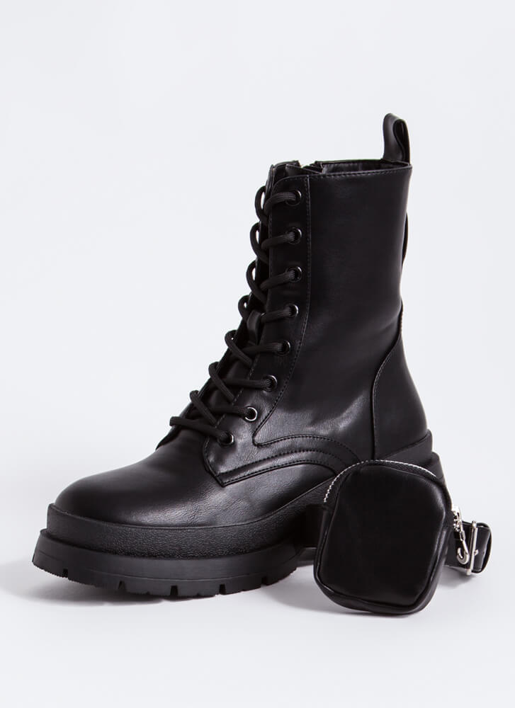 Carry On Pouch Strap Combat Boots BLACK