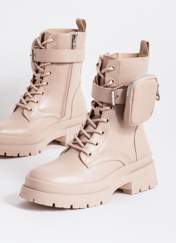 Carry On Pouch Strap Combat Boots NUDE