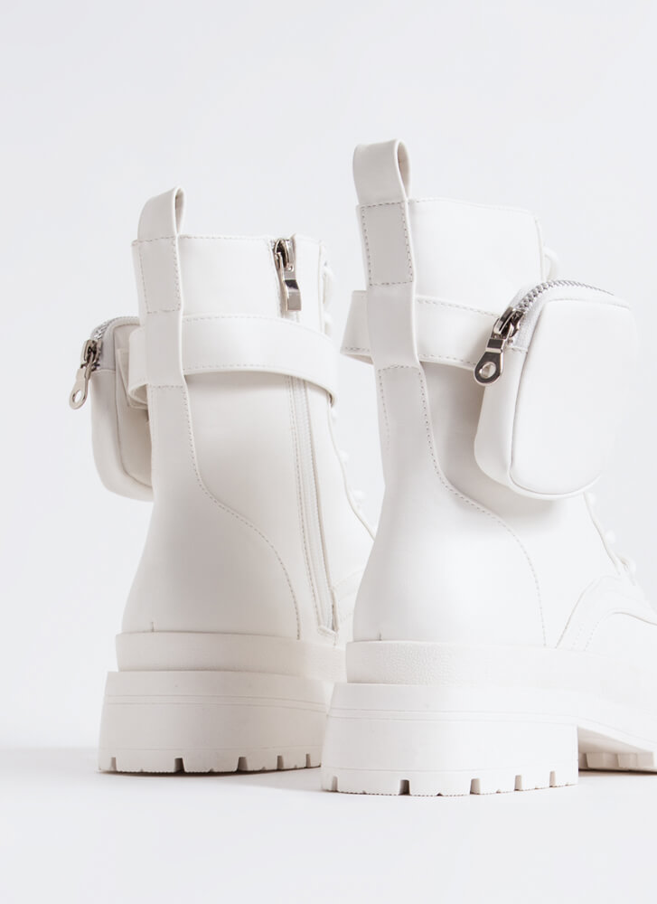 Carry On Pouch Strap Combat Boots WHITE
