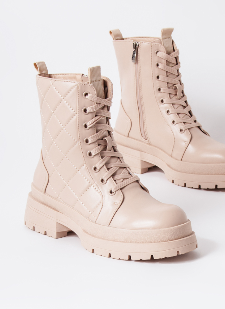 Get Stitches Quilted Combat Boots NUDE