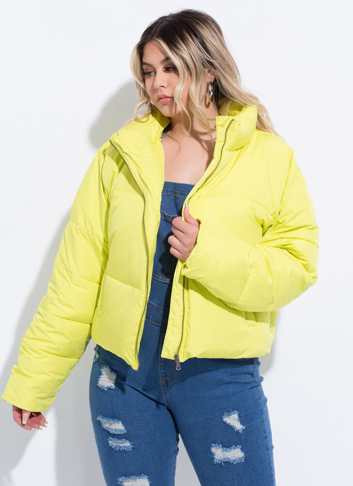 Cold Weather Crew Puffy Padded Jacket LIME