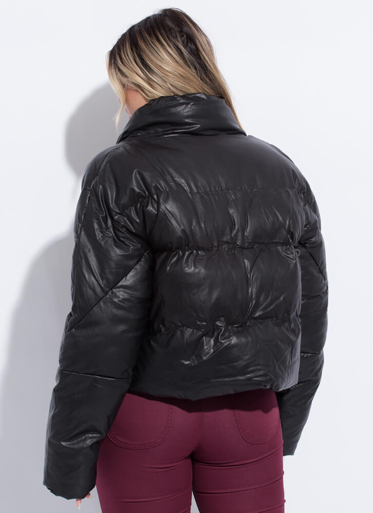 Cold Weather Style Puffy Padded Jacket BLACK