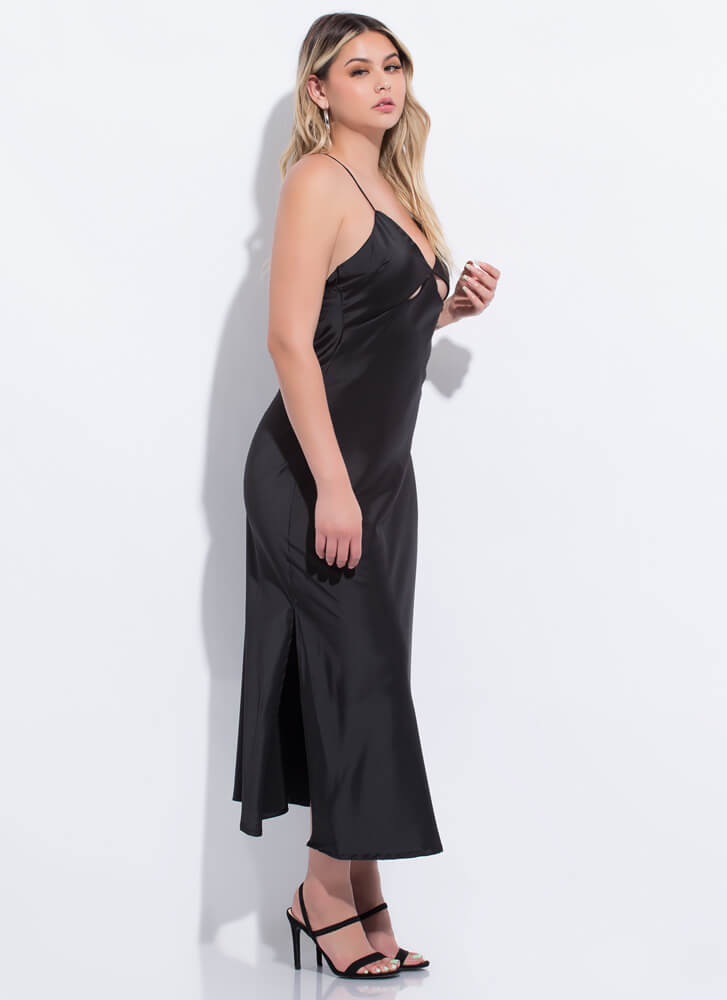 Cut-Out Of My Life Open-Back Satin Maxi BLACK