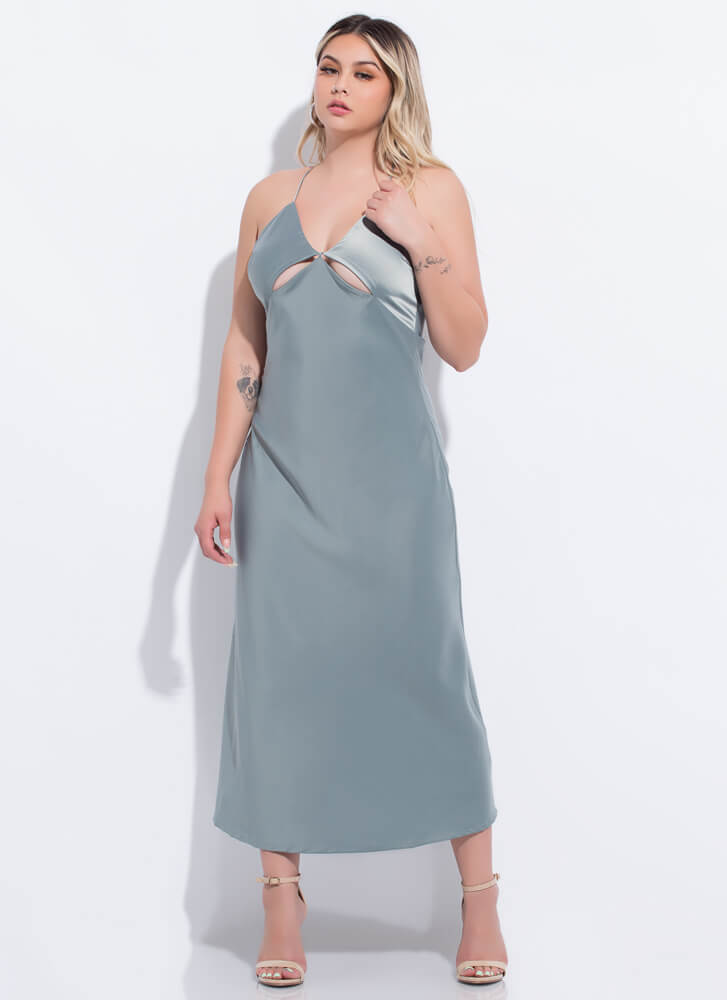 Cut-Out Of My Life Open-Back Satin Maxi SAGE