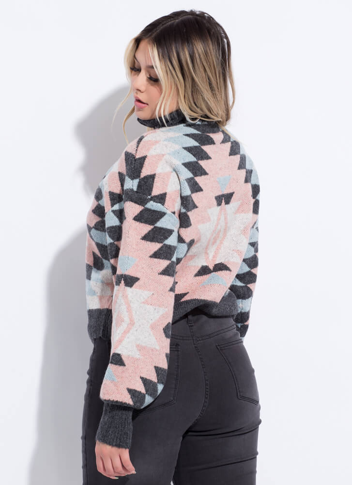 Weather Patterns High-Neck Sweater CHARCOAL