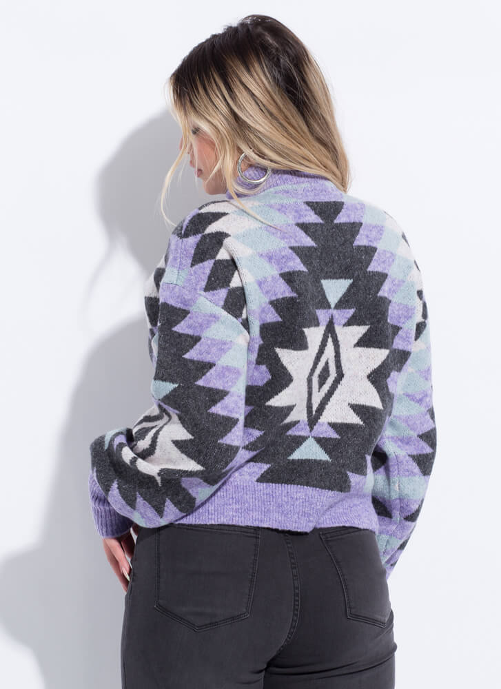 Weather Patterns High-Neck Sweater LAVENDER