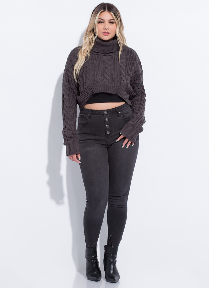 New Crop High-Low Turtleneck Sweater CHARCOAL
