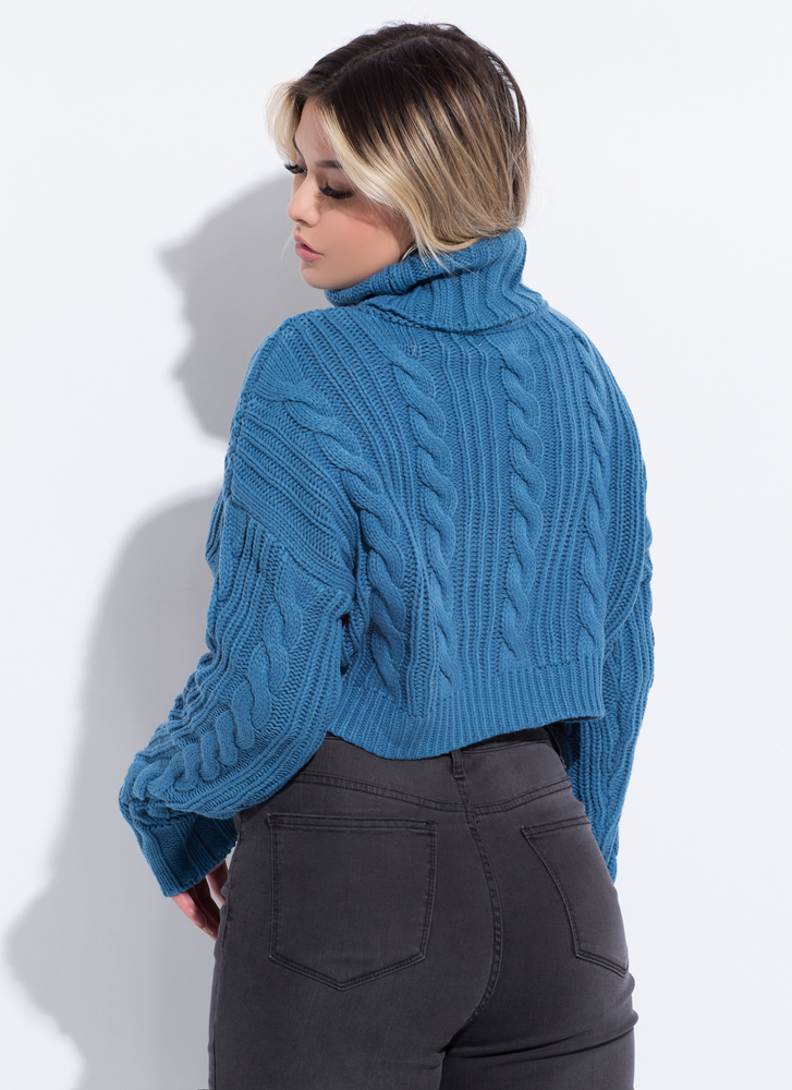 New Crop High-Low Turtleneck Sweater TEAL