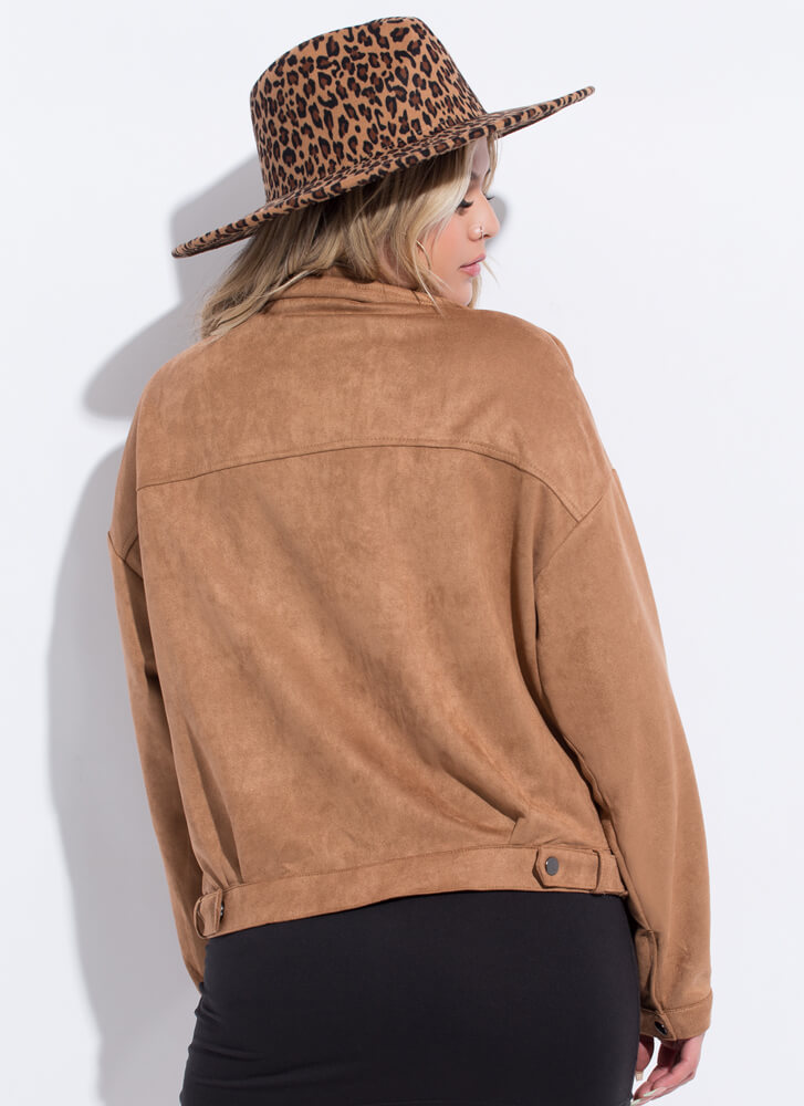 Fall Fave Faux Suede Moto Jacket CAMEL