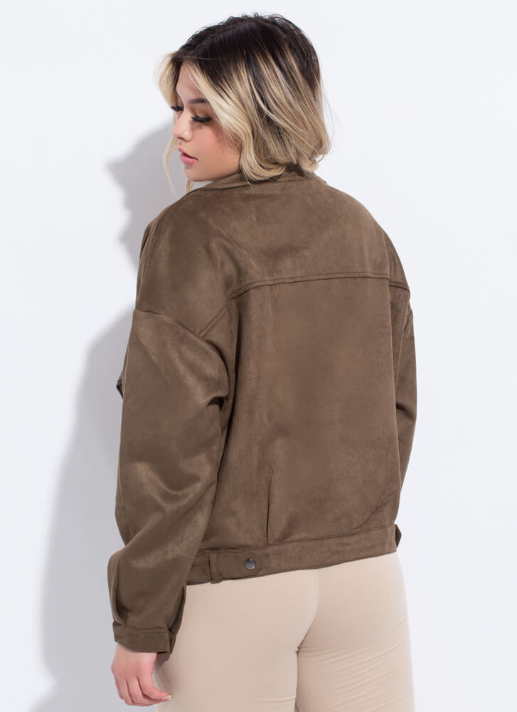 Fall Fave Faux Suede Moto Jacket OLIVE