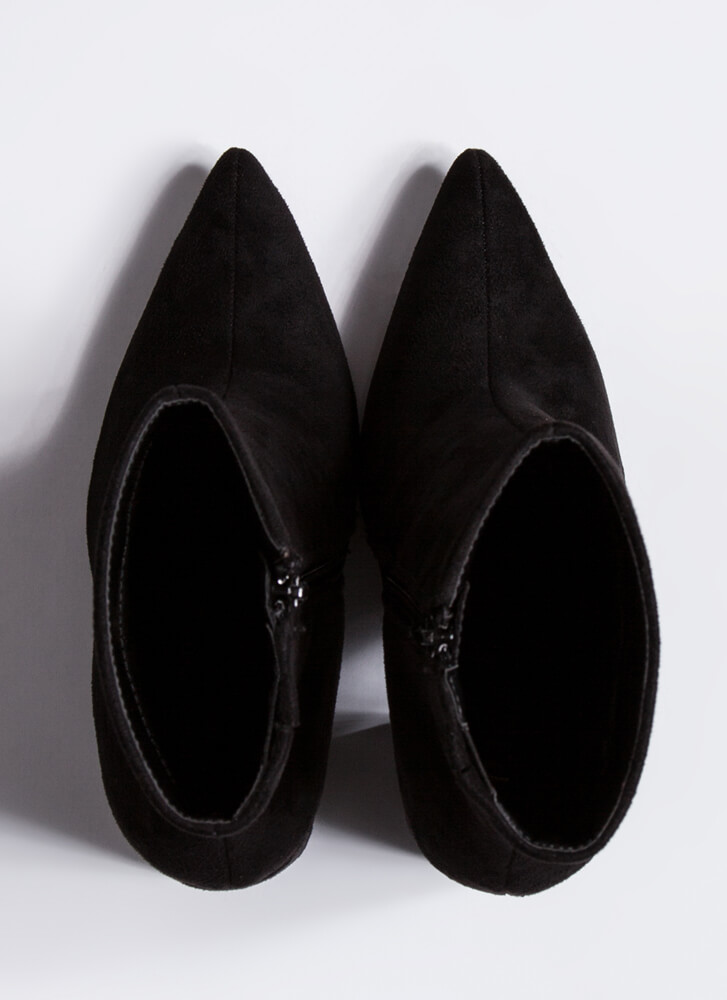 Point Person Chunky Faux Suede Booties BLACK