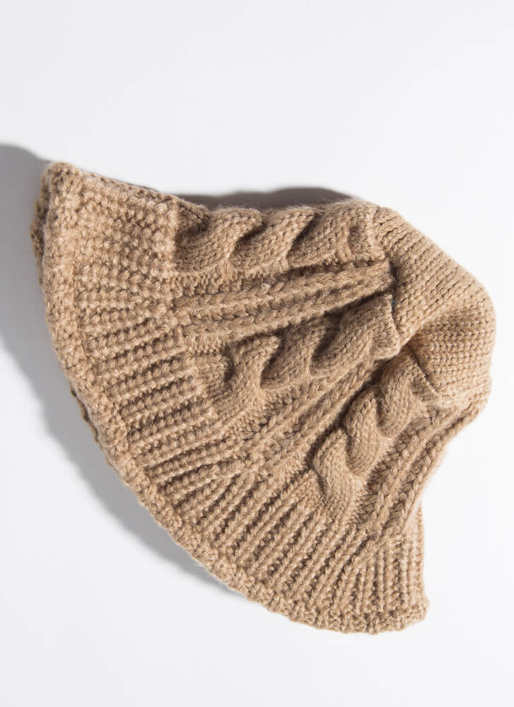 Warm Heads Prevail Cable Knit Bucket Hat TAUPE