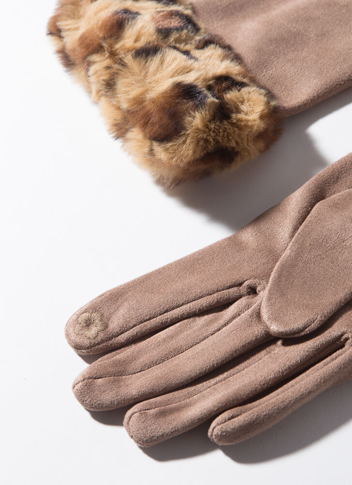 Fur Elise Leopard-Cuffed Gloves TAUPE