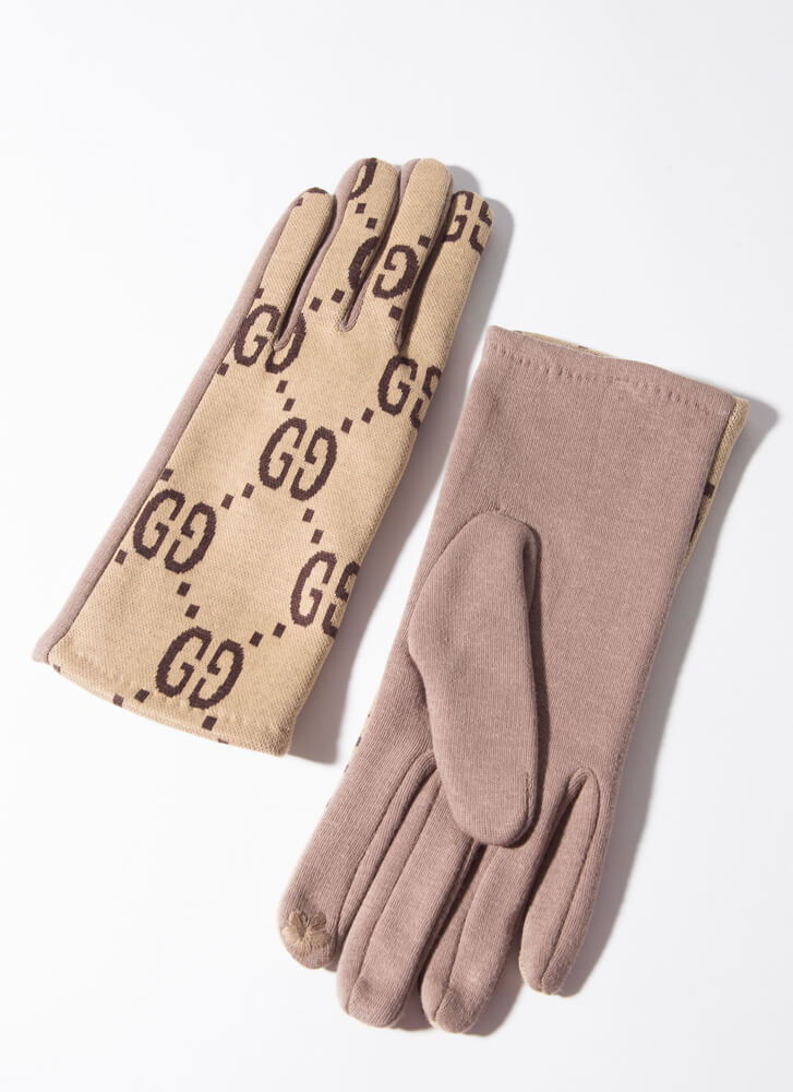 Lady's Fashion Knit Patterned Gloves TAUPE