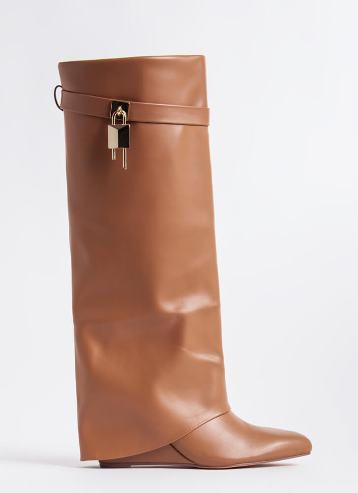 New Chap Folded Faux Leather Wedge Boots BEIGE