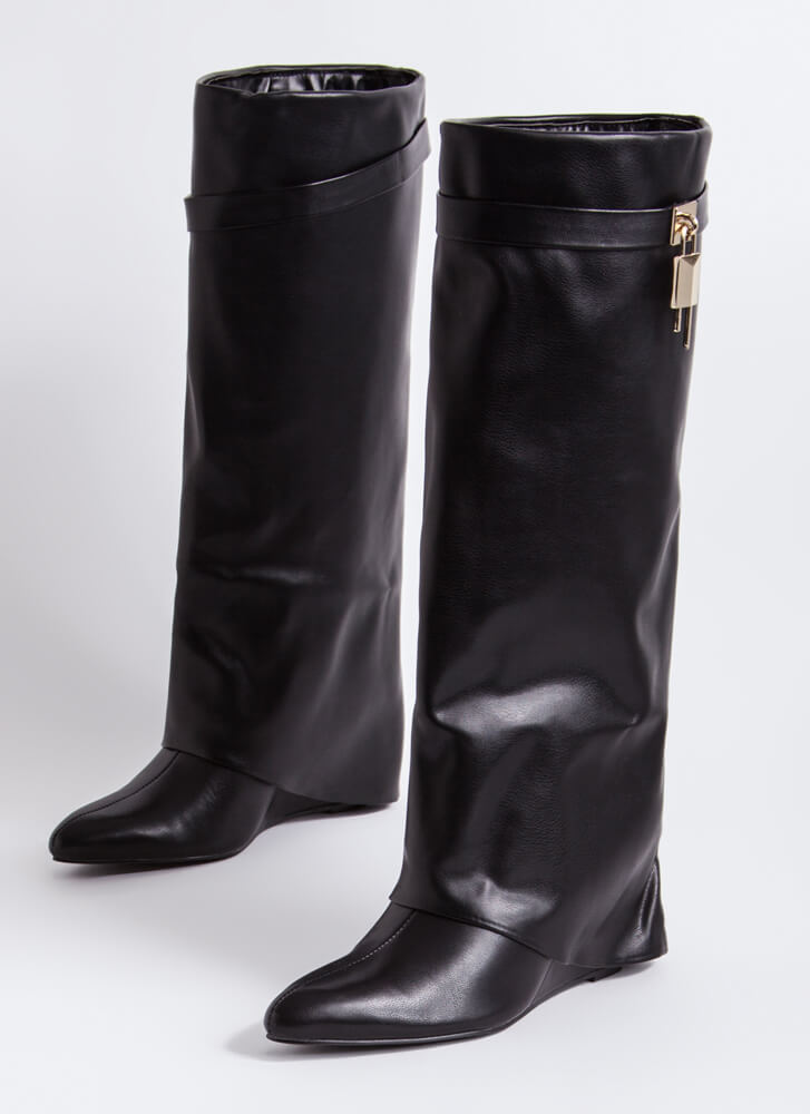 New Chap Folded Faux Leather Wedge Boots BLACK