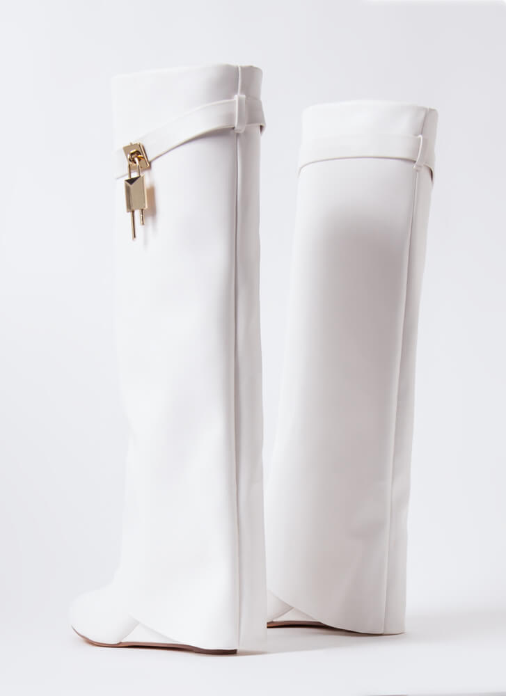 New Chap Folded Faux Leather Wedge Boots WHITE