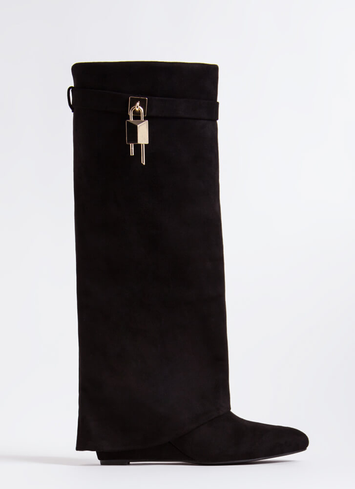 New Chap Folded Faux Suede Wedge Boots BLACK