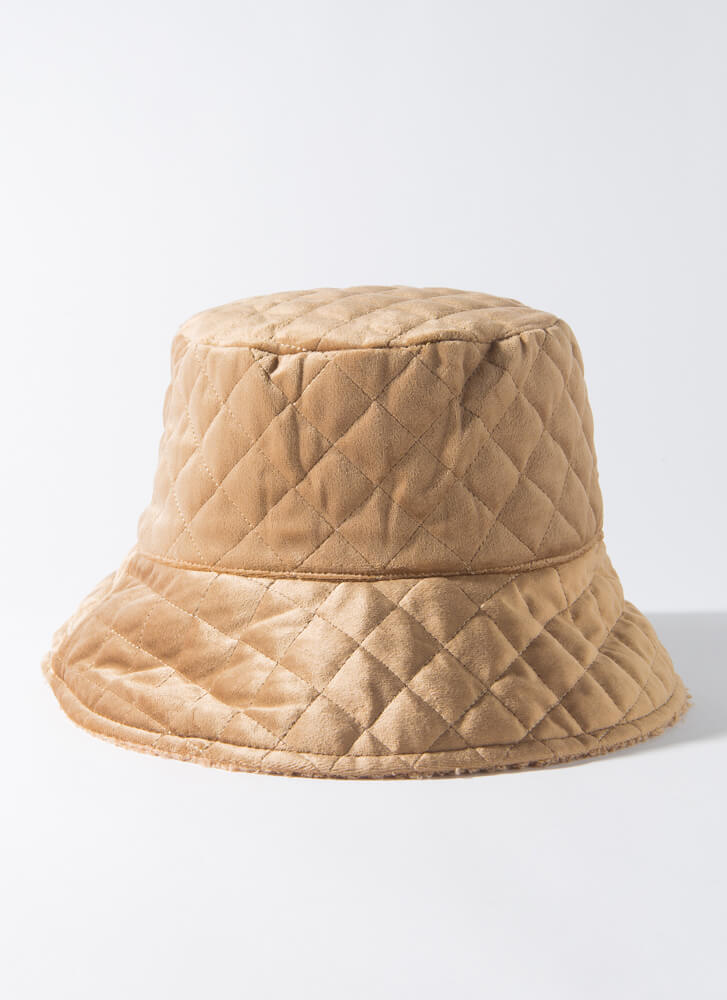 Quilted Cool Reversible Bucket Hat KHAKI