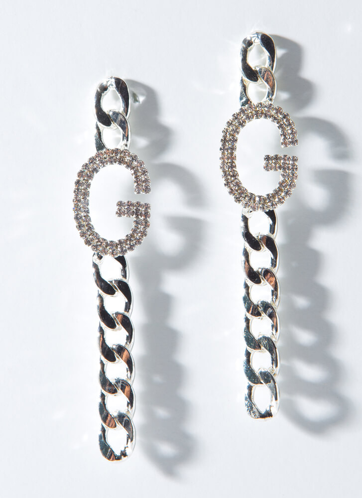 G For Glam Jeweled Chain Drop Earrings SILVER