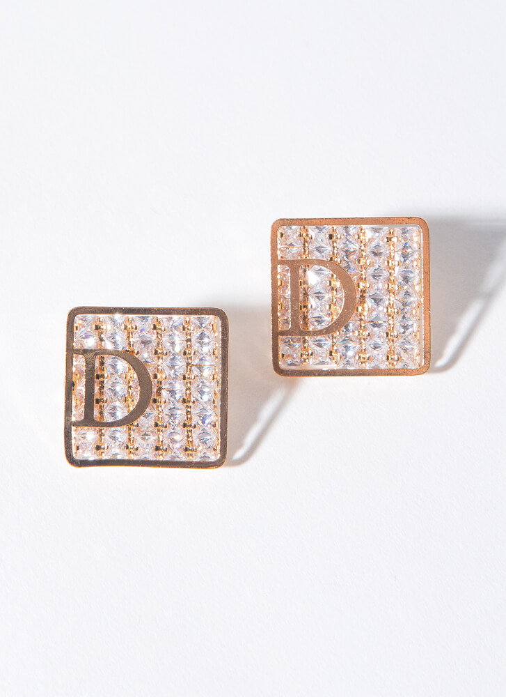 D For Diamond Small Square Earrings GOLD