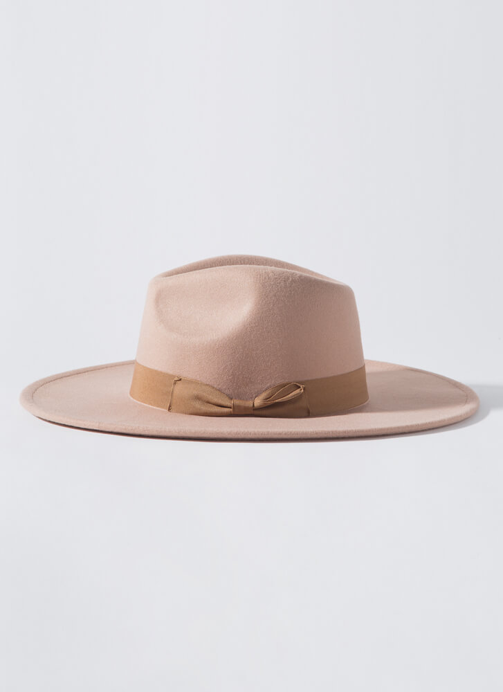 Bow Where The Wind Blows Felted Fedora TAUPE
