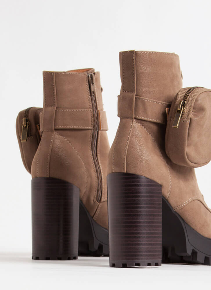 I'll Pouch For You Faux Nubuck Booties TAUPE