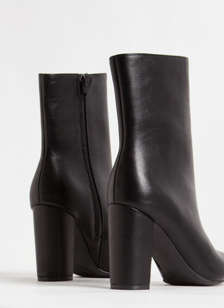 Style Points Faux Leather Booties BLACK