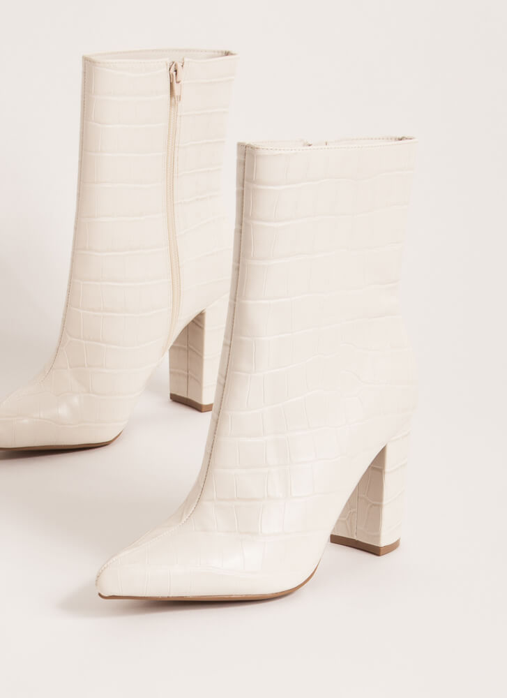 Style Points Faux Crocodile Booties IVORY