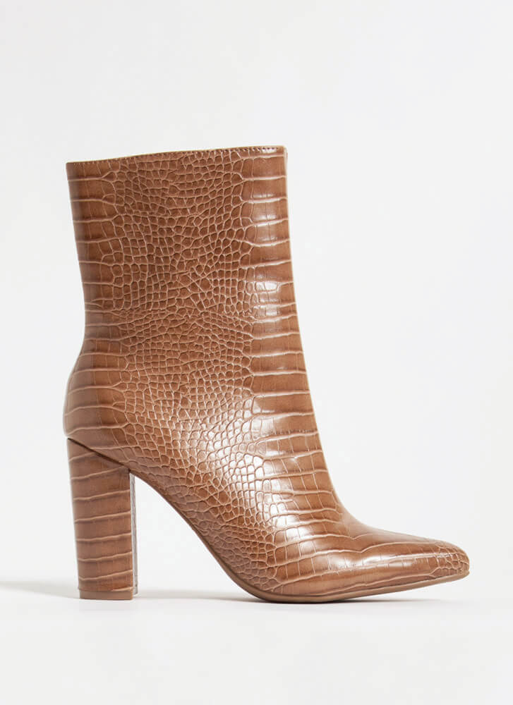 Style Points Faux Crocodile Booties TAUPE