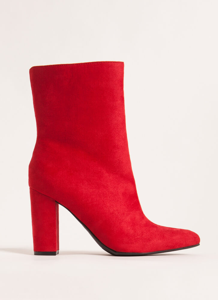 Style Points Faux Suede Booties RED