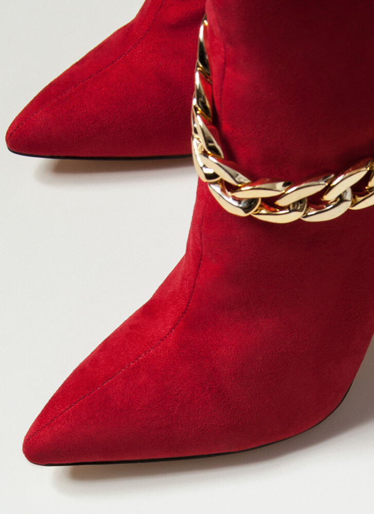 Shiny Hardware Draped Chain Booties RED