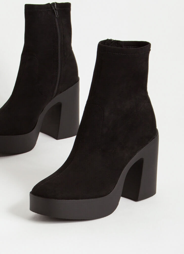 Go-Go Girl Chunky Faux Suede Booties BLACK