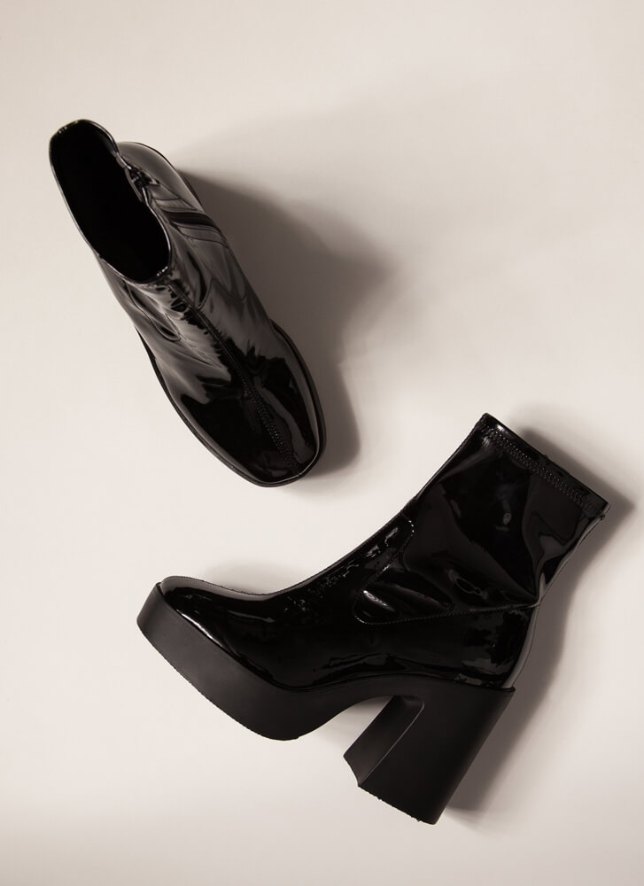 Go-Go Girl Chunky Faux Patent Booties BLACK