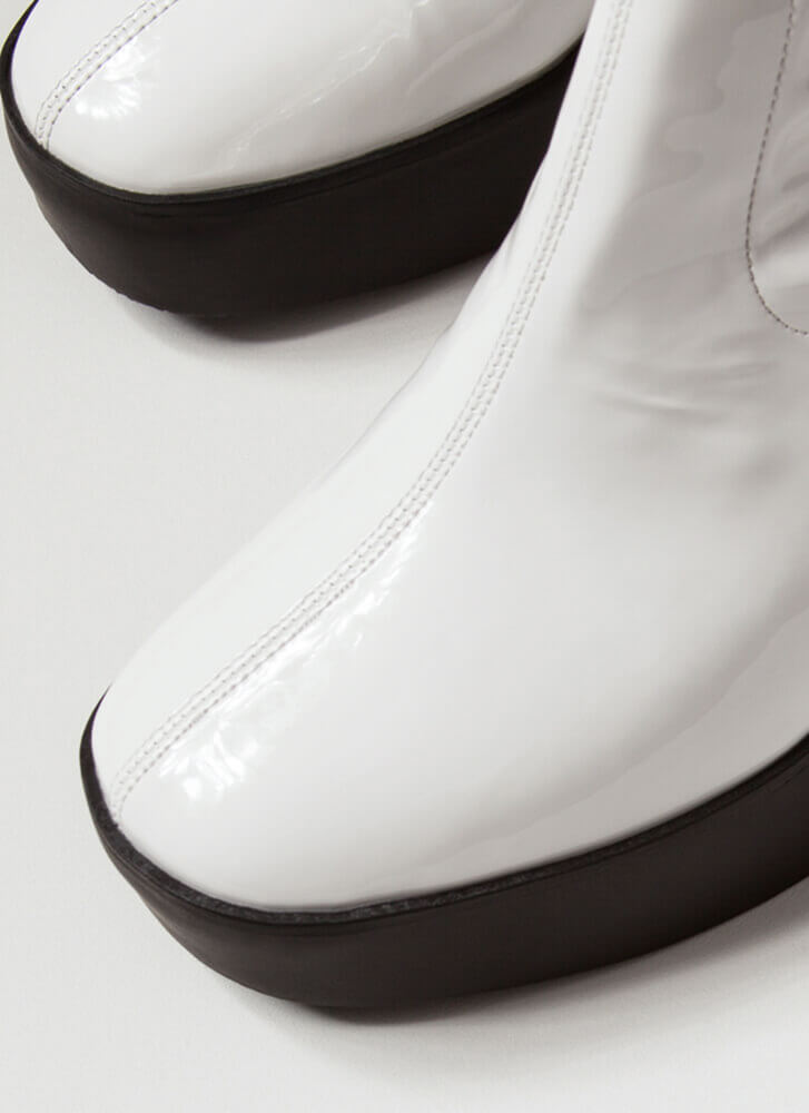 Go-Go Girl Chunky Faux Patent Booties WHITE