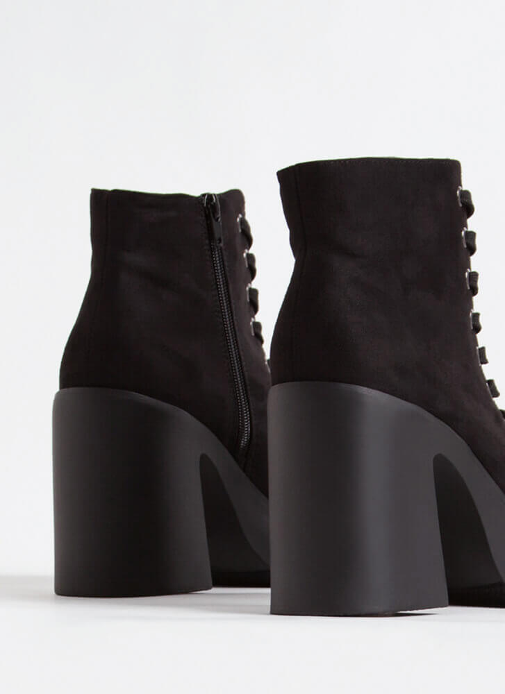 90's Baby Chunky Faux Suede Booties BLACK