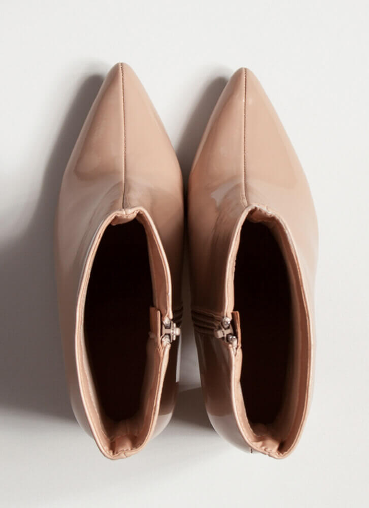 Style Points Faux Patent Booties NUDE
